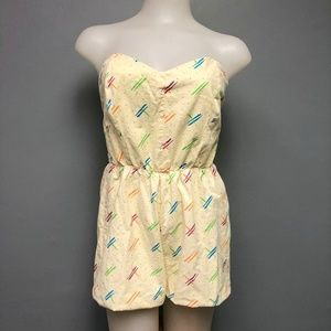 VTG 80s Handmade Strapless Romper Abstract Retro
